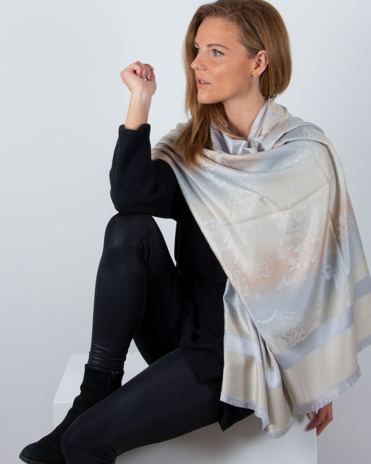 an image showing a silver patterned pashmina