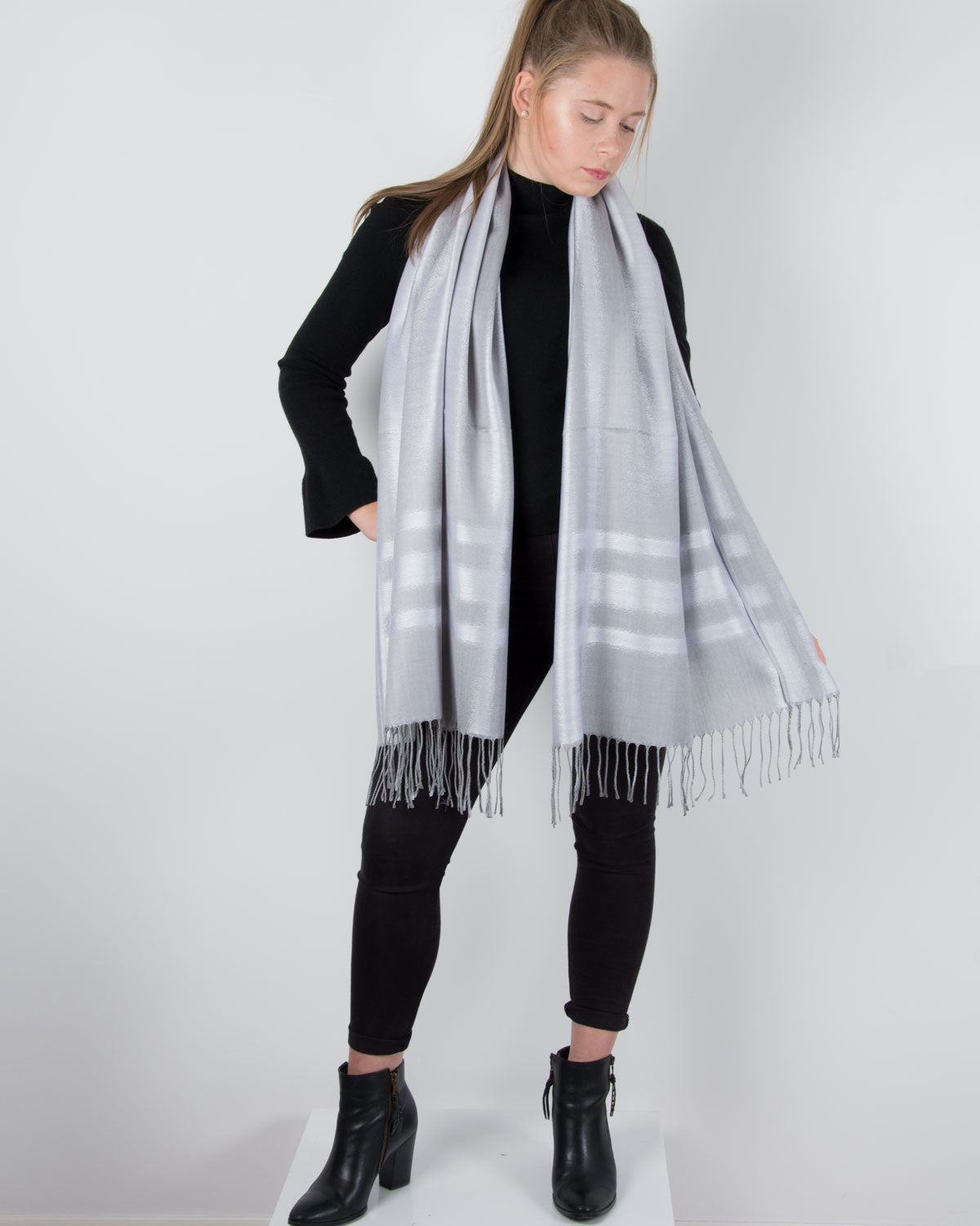 an image showing a silver stripe pashmina
