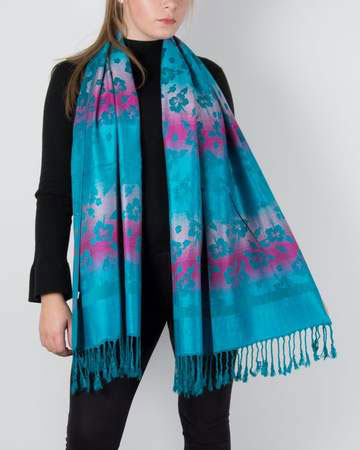 an image showing a turquoise floral pashmina