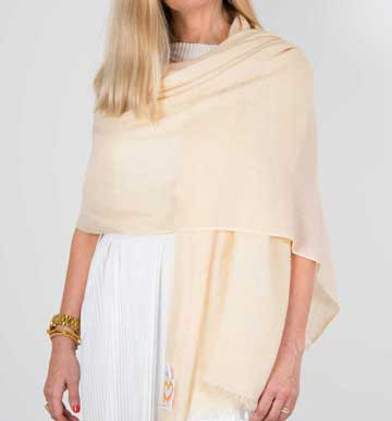 an image showing a cashmere wedding pashmina in cream