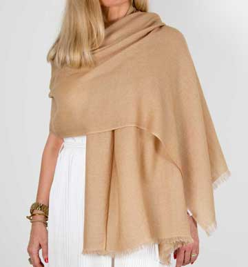 an image showing a cashmere wedding pashmina in gold