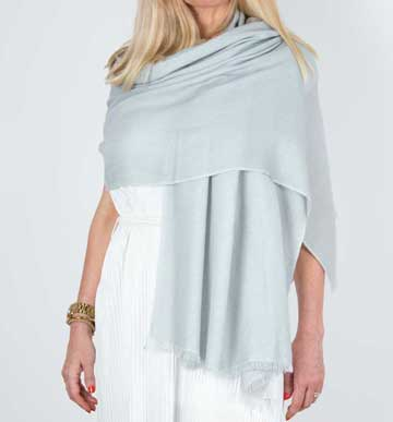 an image showing a cashmere wedding pashmina in silver grey