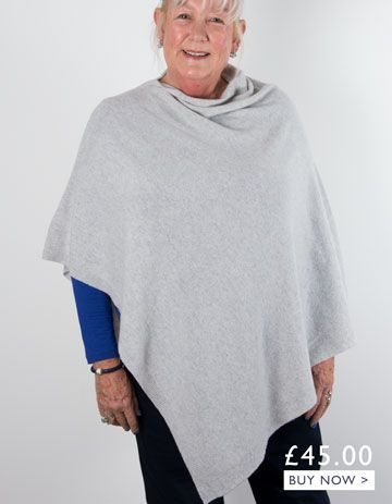 an image showing a grey cashmere mix poncho
