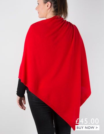 an image showing a red cashmere mix poncho