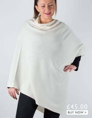 an image showing a cream cashmere mix poncho