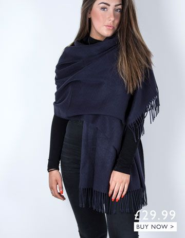 an image showing a navy winter pashmina