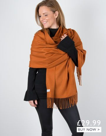 an image showing an orange winter pashmina