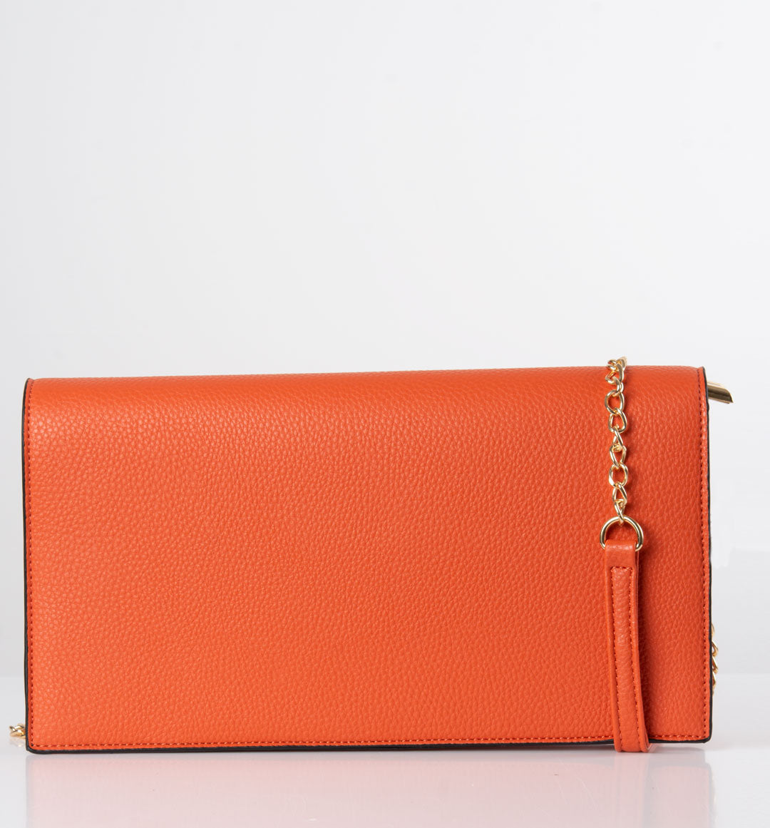 an image showing an orange shoulder bag