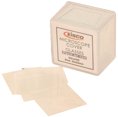 Square Microscope Slide Glass Covers, 22 x 22 mm, Pack of 100 Slide Coverslips