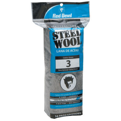 Metal, Steel Wool, Coarse 3 (pack of 16 pads)