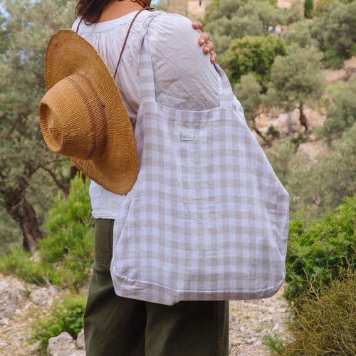 Provenzal Tote Bag in Vichy Linen