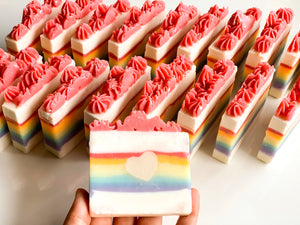 Rainbow Heart Loaf Slice Soap