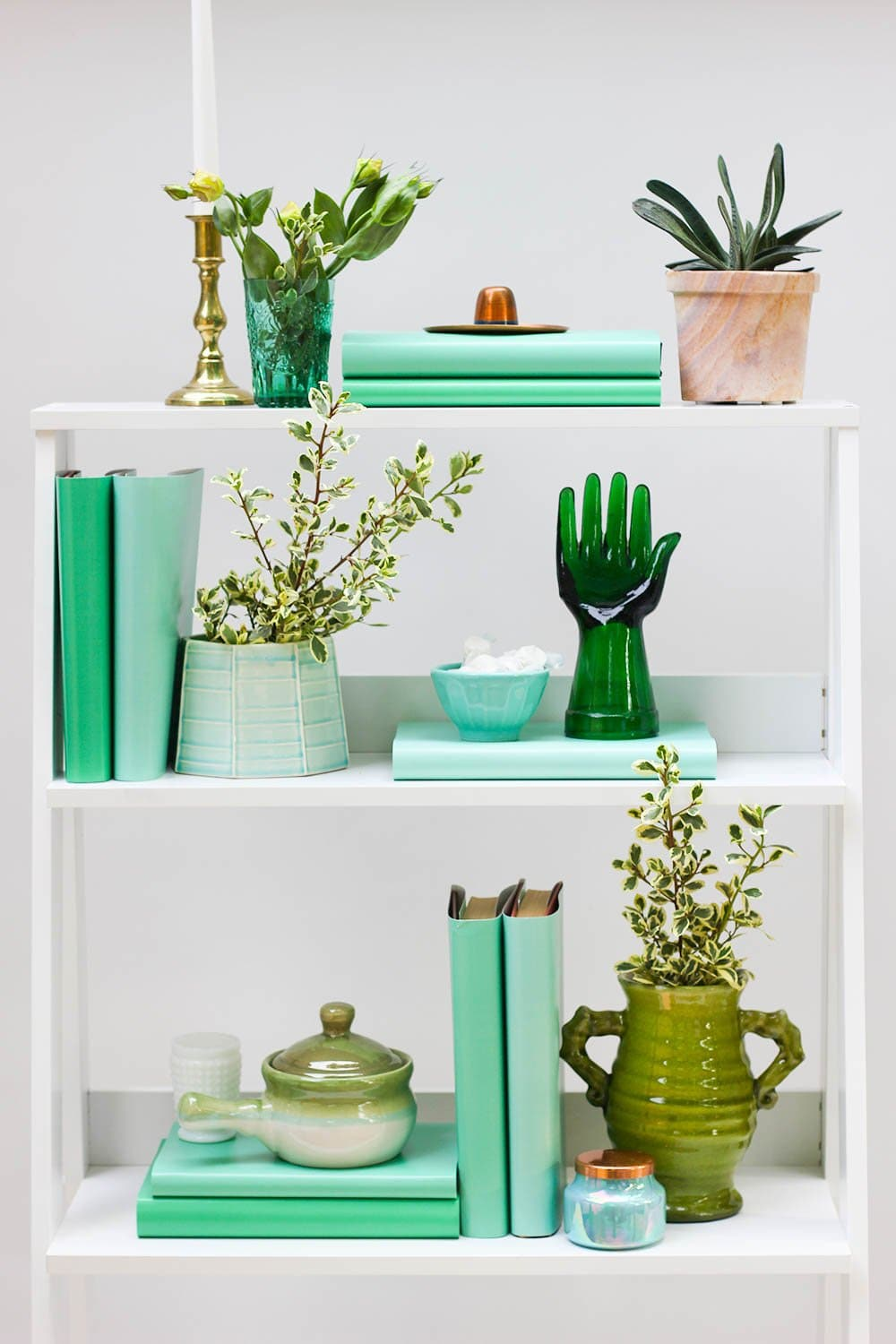 Styled green book shelf with green books from green book covers