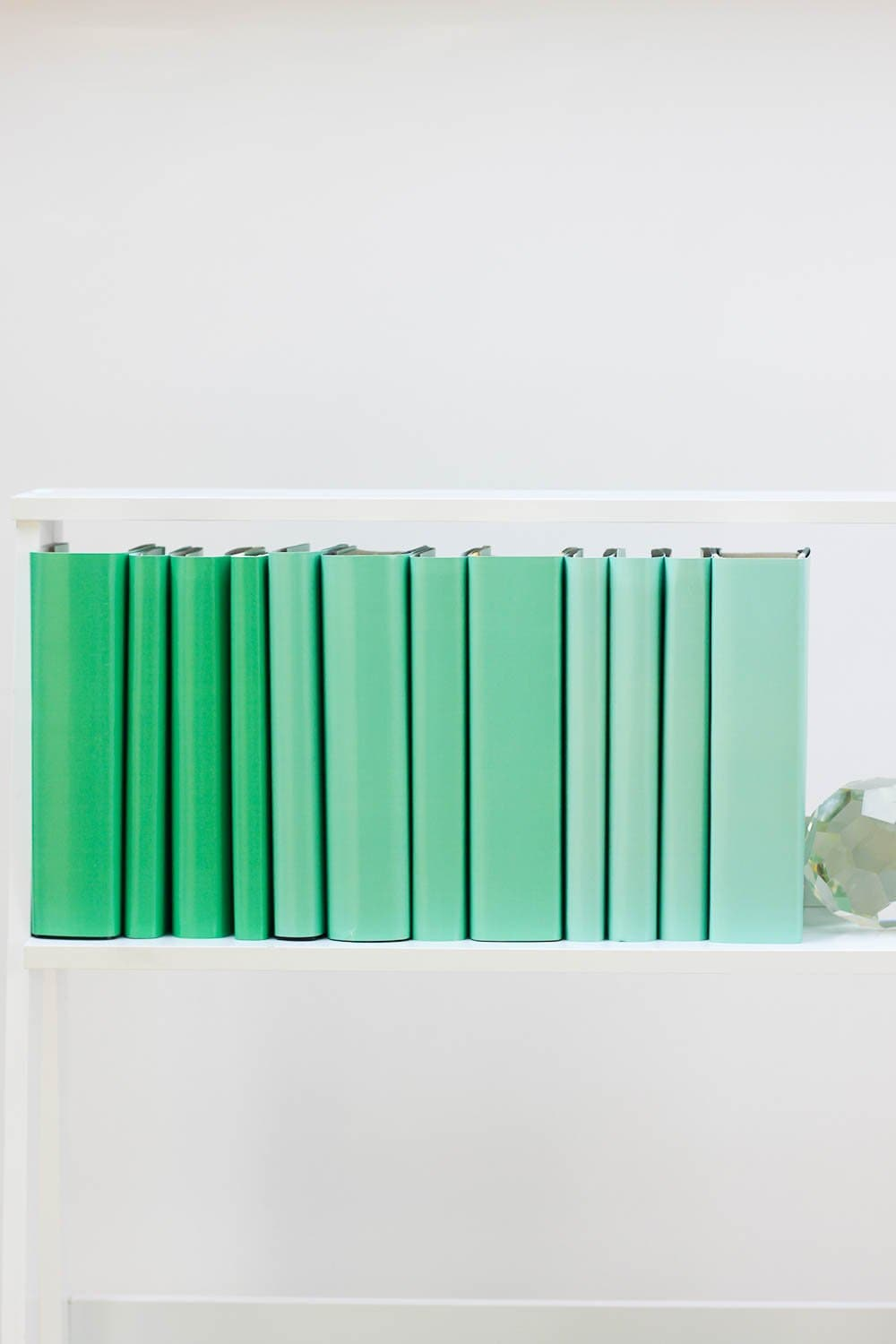 Set of styled green books made with green book covers