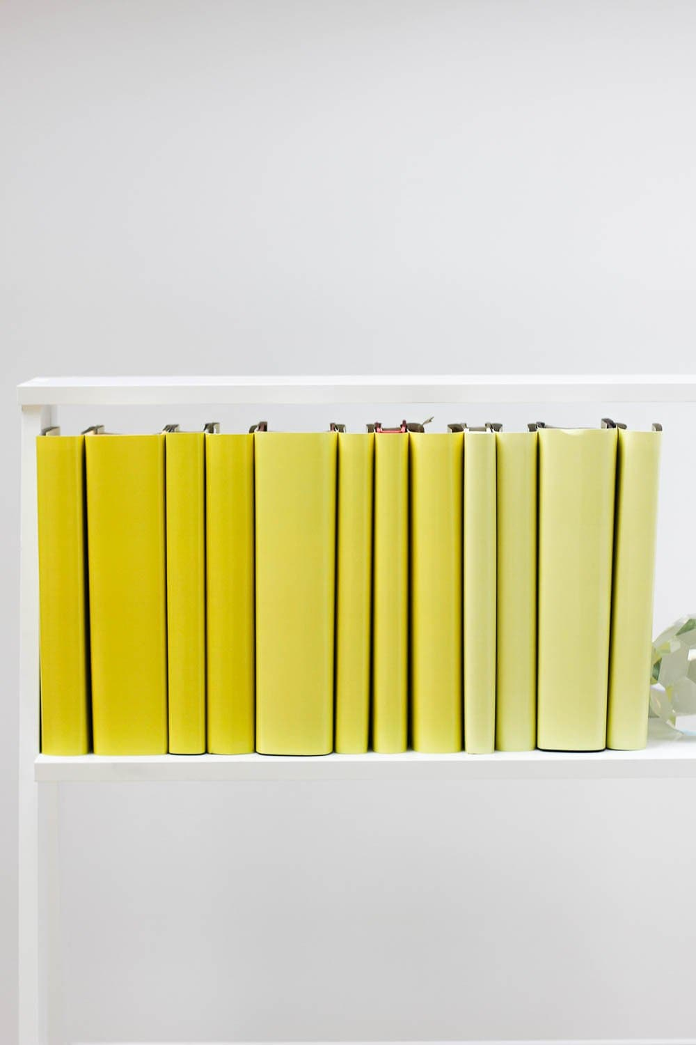 Set of styled yellow books made with yellow book covers