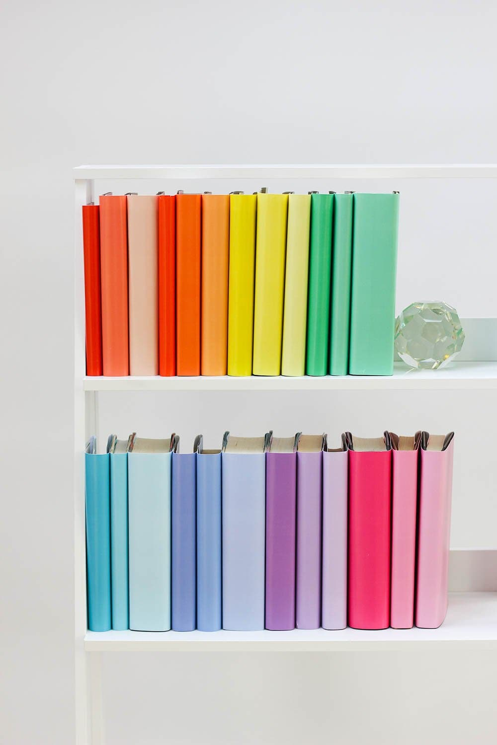Set of styled rainbow books made with rainbow book covers