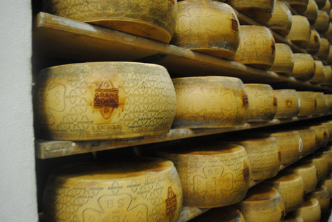 Grana Padano Cheese-each wheel weighs approximately 84 pounds.