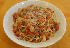 Bowl of Pasta with Pancetta, Tomatoes and Peas