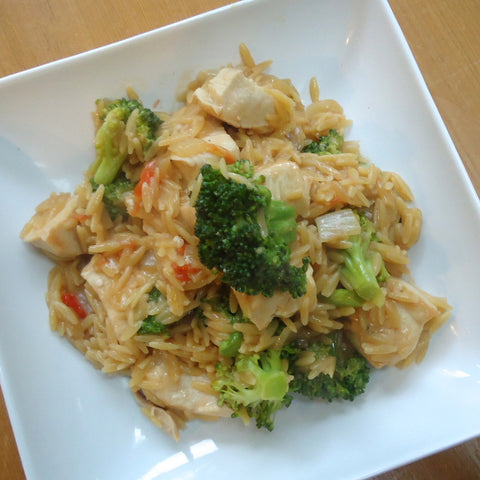 Chicken with Orzo, Broccoli and Tomatoes