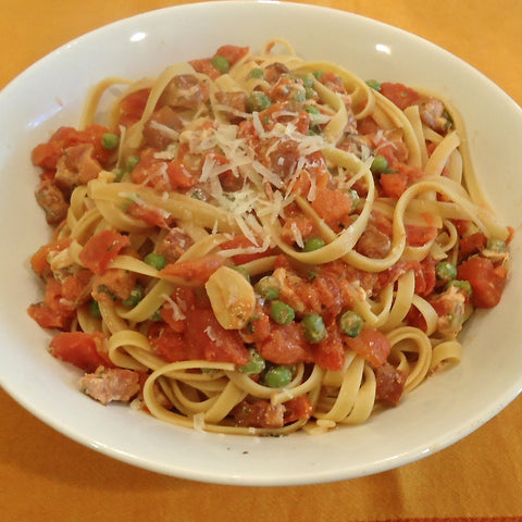 Fettucine with Pancetta, Tomatoes and Peas