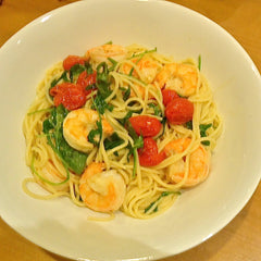 Garlic Roasted Shrimp, Cherry Tomatoes & Arugula over Linguine