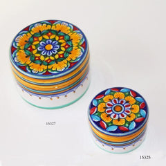 Flat Top Round Ceramic Boxes