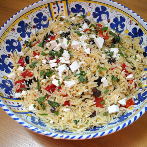 Orzo Salad with Roasted Red Peppers, Black Olives and Ricotta Salata