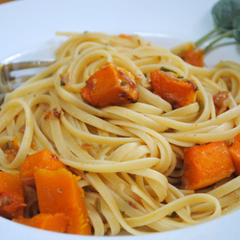 Linguine with Roasted Butternut Squash, Walnuts and Fresh Sage