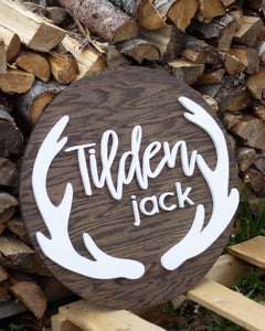 Large Nursery Name Sign with Antlers