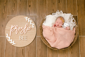 Medium Nursery Name Sign with Laurel Design