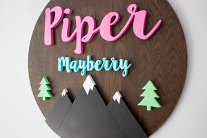 Large Woodland Nursery Name Sign