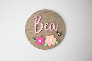 Large Nursery Name Sign with Floral Design