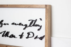 Medium Framed Handwriting Sign