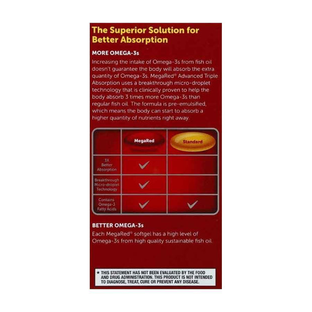 MegaRed Advanced Triple Absorption Omega-3 800mg Softgels
