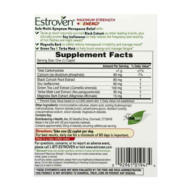 Estroven for Menopause Relief Max Strength + Energy Capsules