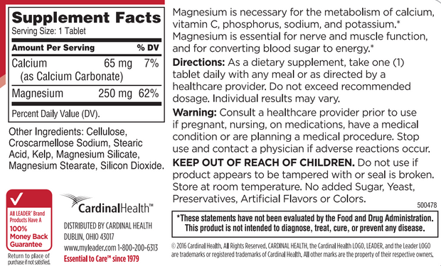 LEADER Magnesium 250mg Tablets 100 ct