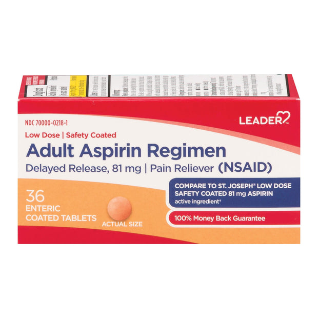 LEADER Adult Aspirin Regimen Low Dose 81mg Tablets