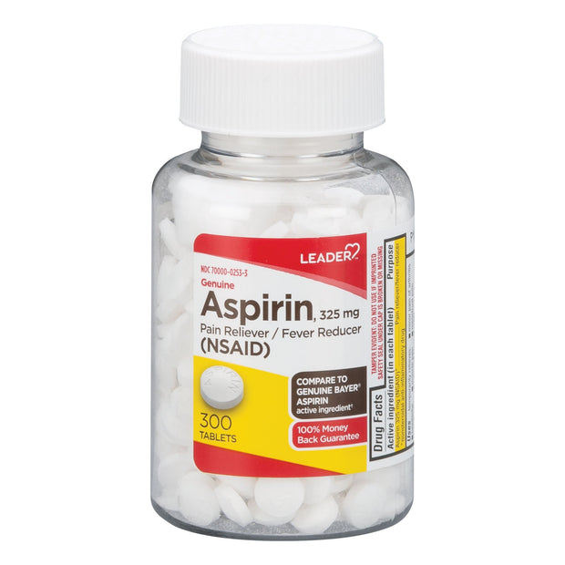 LEADER Aspirin Regular Strength Pain Relief 325mg Tablets