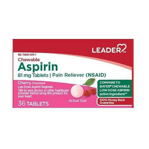 LEADER Aspirin 81mg Cherry Chewable Tablets