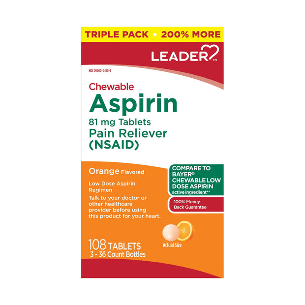 LEADER Aspirin Chewable Orange Flavored Tablets