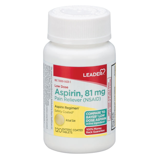 LEADER Low Dose Aspirin Regimen 81mg Enteric Coated Tablets