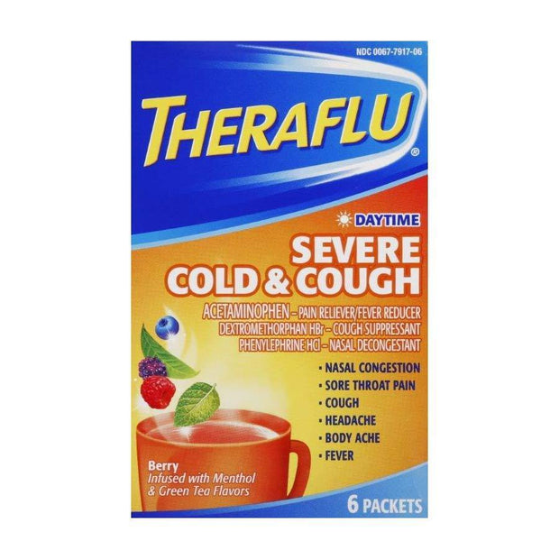 Theraflu Multi-Symptom Severe Cold & Cough Day Berry & Green Tea Packets