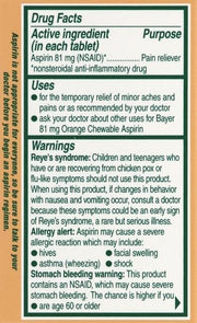 Bayer Children's Aspirin 81mg Orange Chewable Tablets 36 ct
