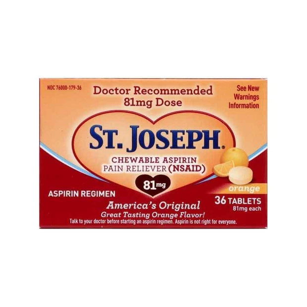 St. Joseph Aspirin 81mg Orange Chewable Tablets