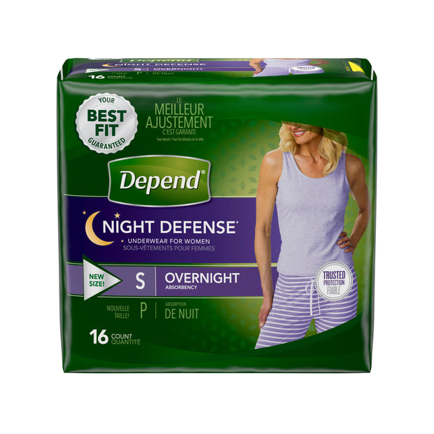 Depend Night Defense Underwear Women's Maximum Absorbency Small
