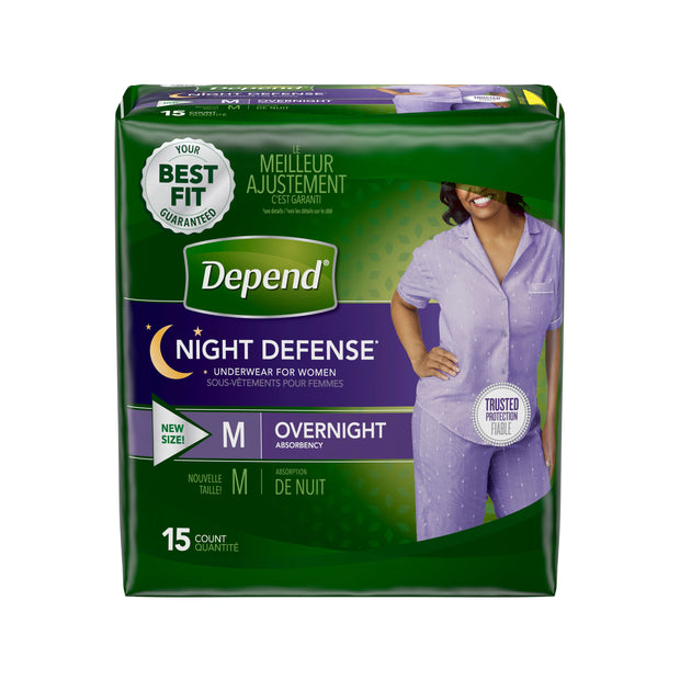 Depend Night Defense Underwear Women's Maximum Absorbency Medium
