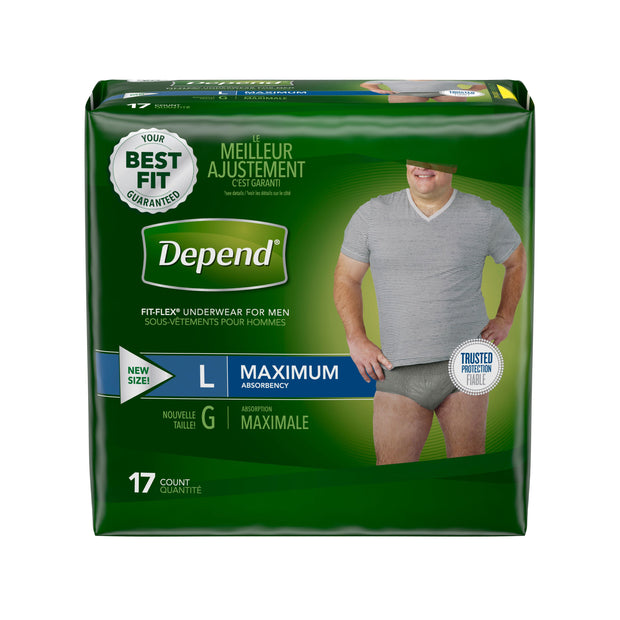 Depend Fit-Flex Briefs Men's Large