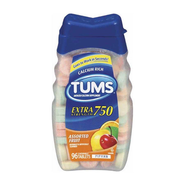 Tums Antacid Extra Strength Chewables Assorted Fruit 96 ct