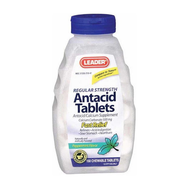 LEADER Antacid Regular Strength Peppermint Chewable Tablets 150 ct