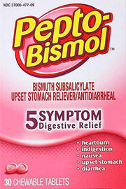 Pepto Bismol Upset Stomach Reliever/Antidiarrheal Original Chewable Tablets